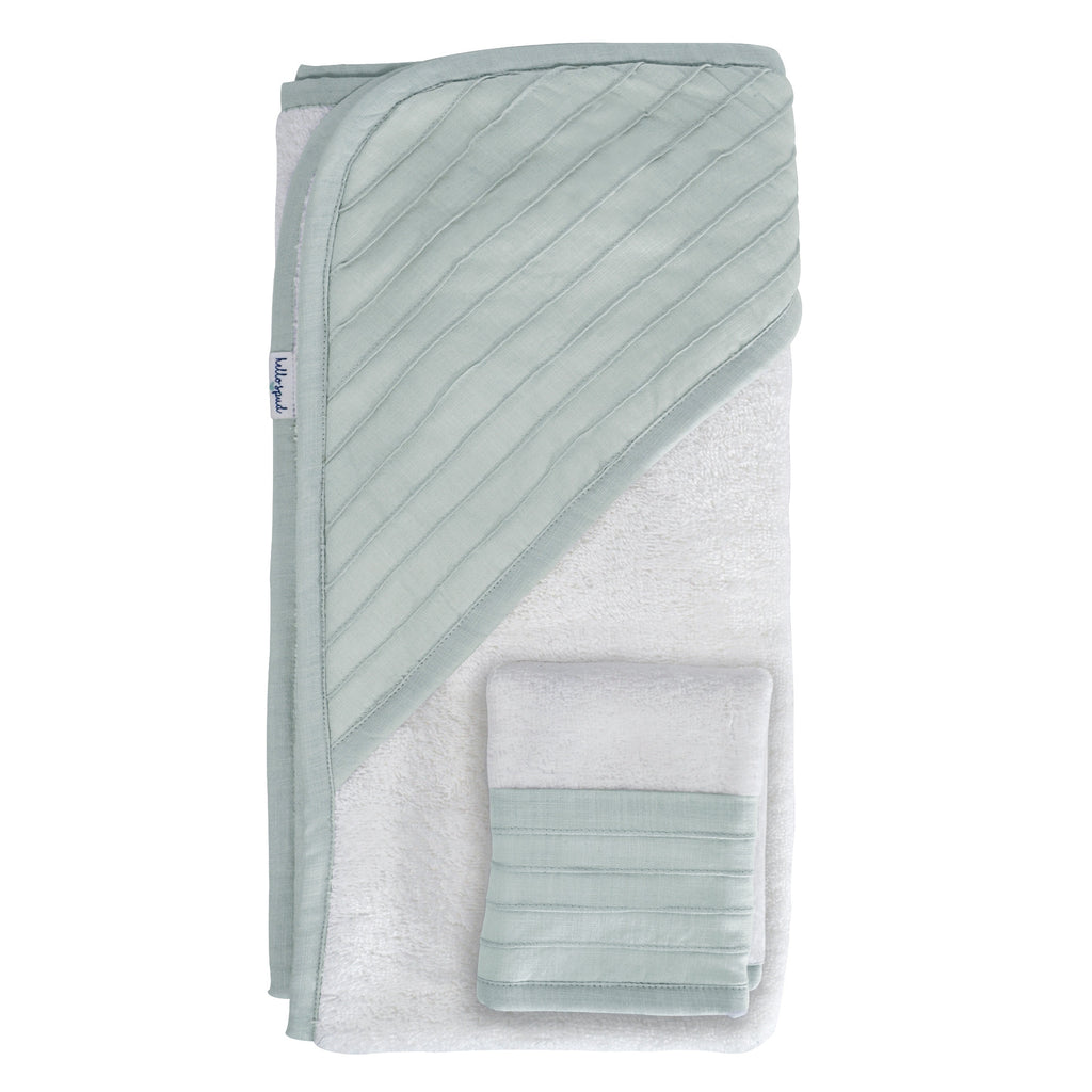 Hello Spud Hooded Towel Set Organic Cotton Pintuck Seafoam