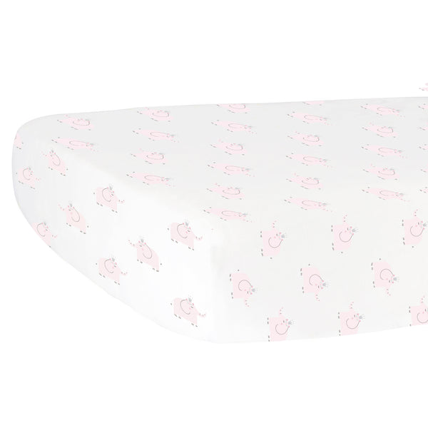 ***NEW Fitted Crib Sheet - Pink Elephants on White Organic Cotton Jersey