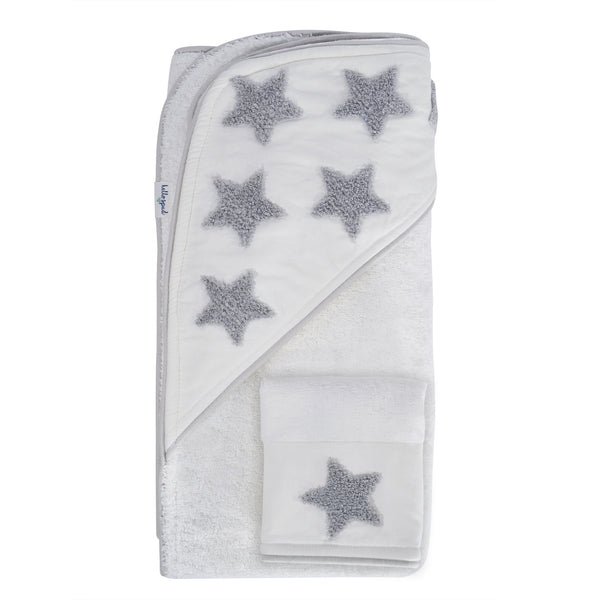 Hello Spud Hooded Towel Set Organic Cotton Embroidered Gray Stars
