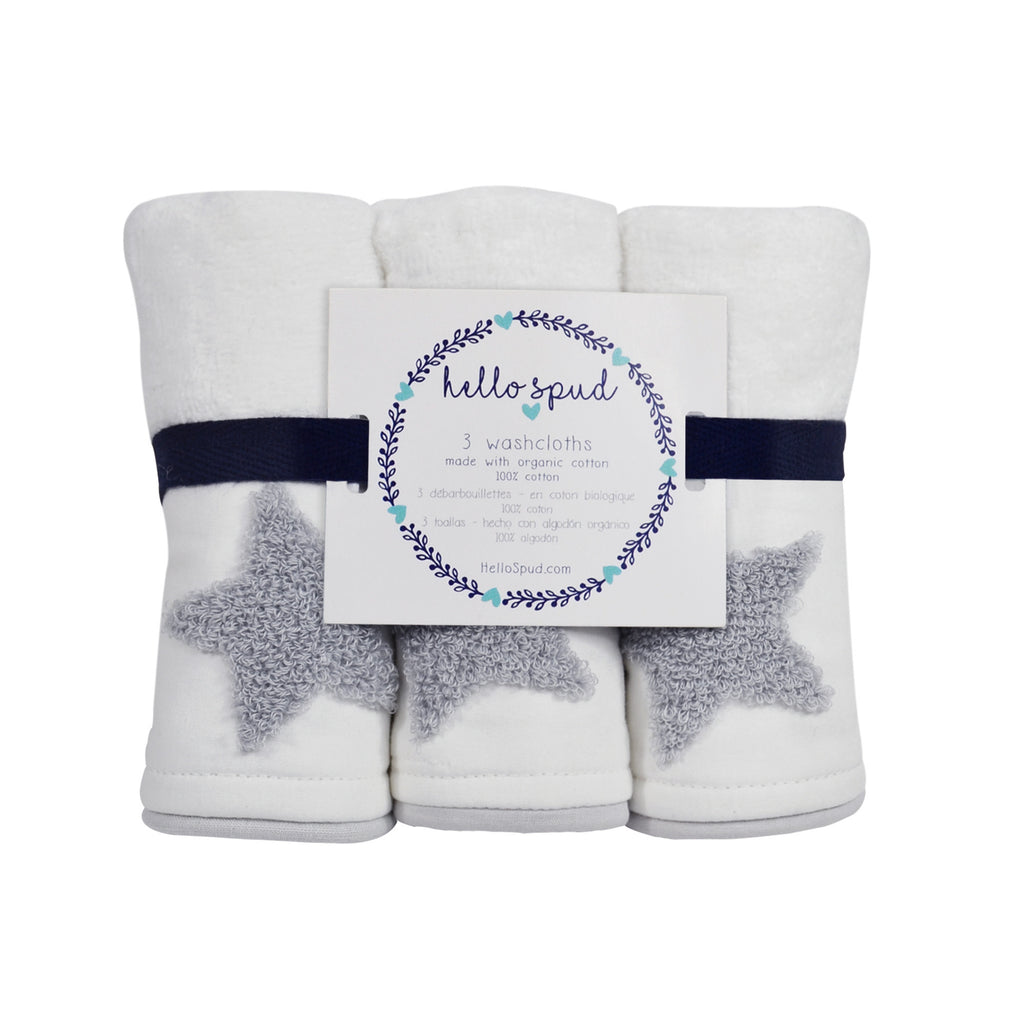 Hello Spud Washcloth 3-Pack Organic Cotton Embroidered Gray Stars