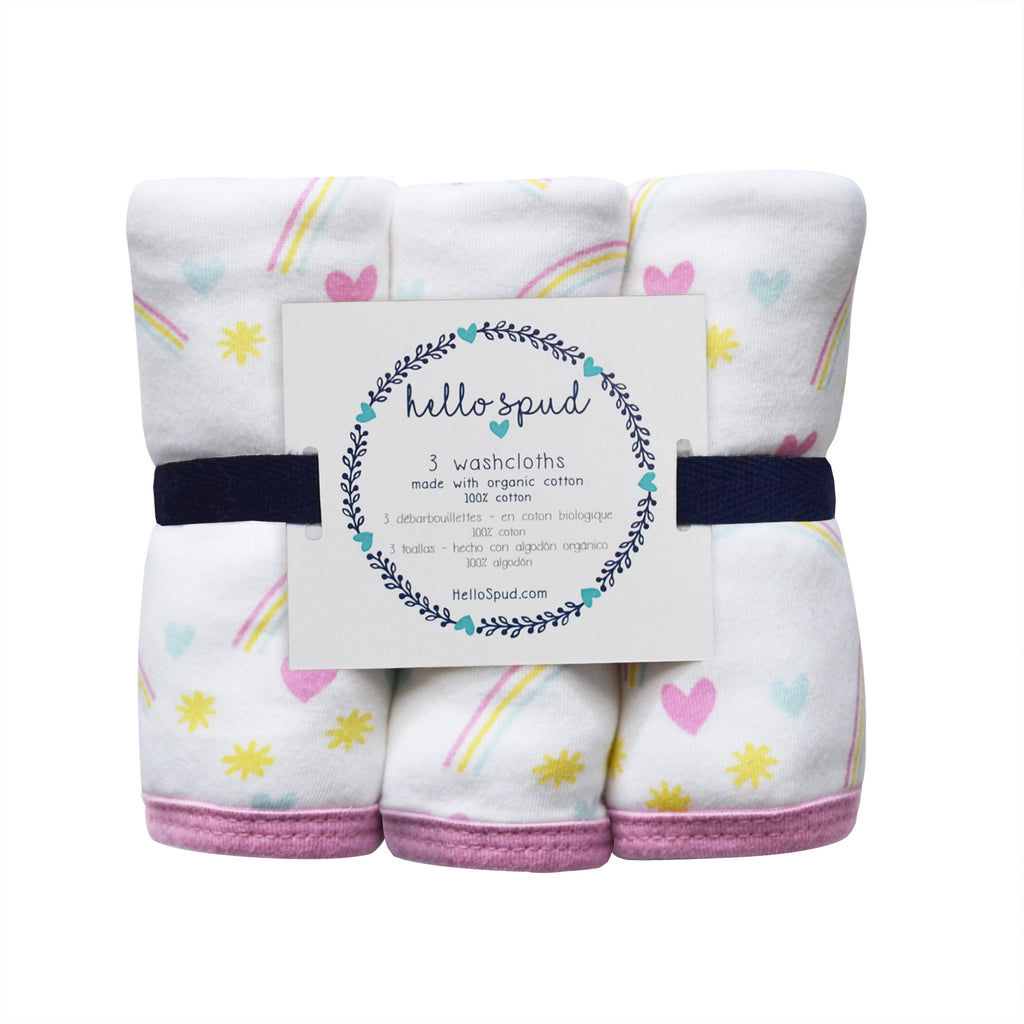 Hello Spud Washcloth 3-Pack Organic Cotton Printed Jersey Rainbows