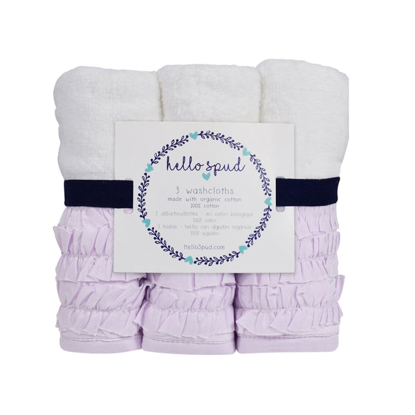 Hello Spud Washcloth 3-Pack Organic Cotton Petite Ruffle Lavender