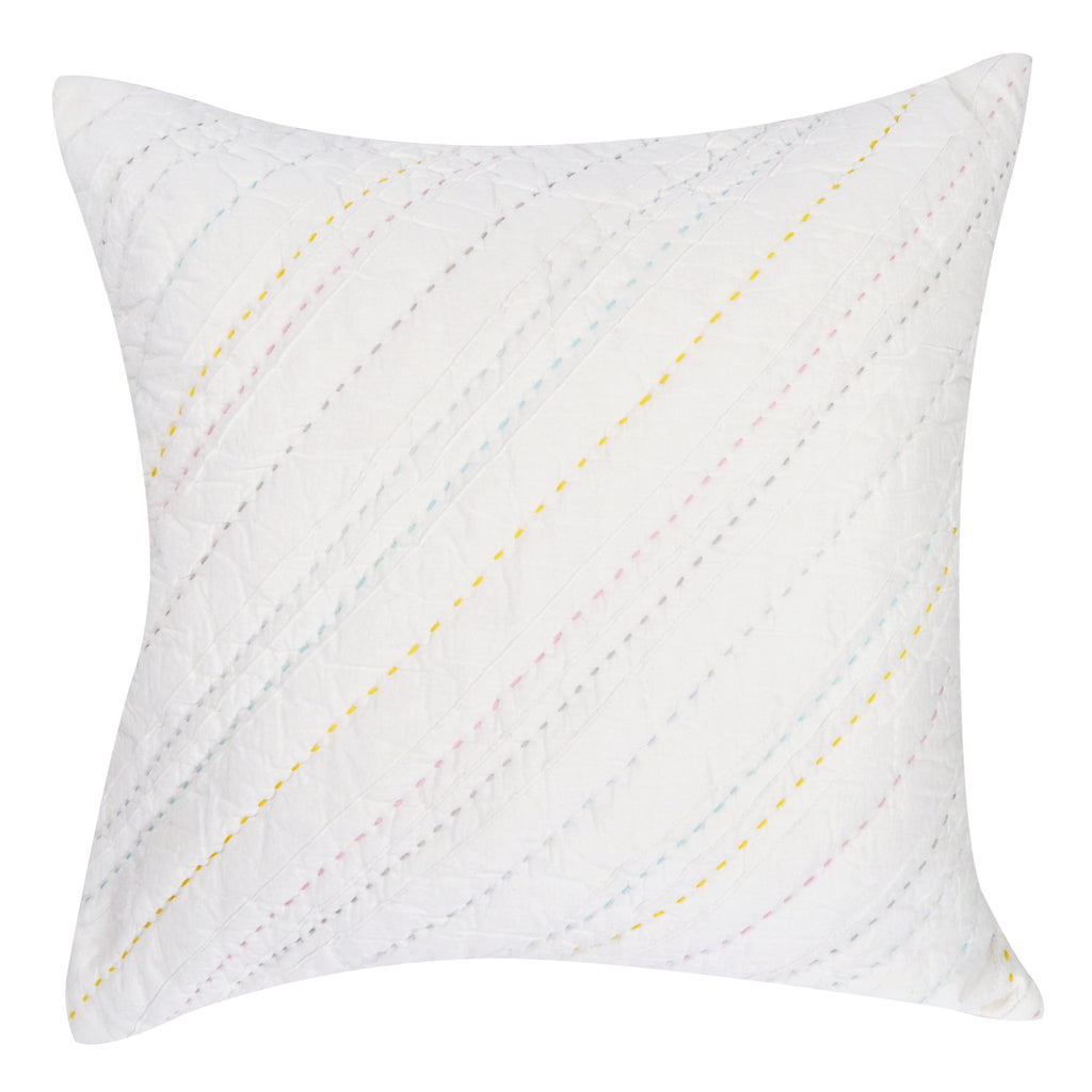 Hello Spud Decorative Pillow with Stuffer Diagonal Pintuck Rainbow