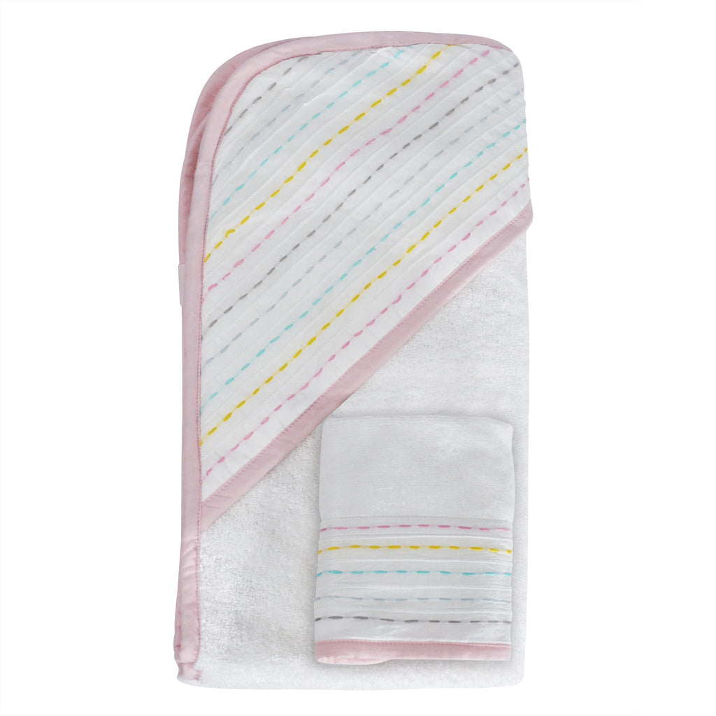 Hello Spud Hooded Towel Set Organic Cotton Diagonal Pintuck Rainbow