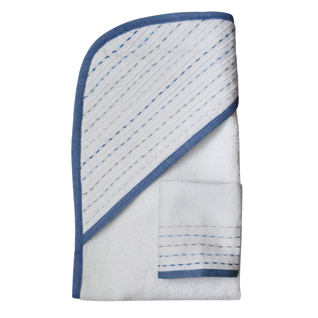 Hello Spud Hooded Towel Set Organic Cotton Diagonal Pintuck Blue-Gray