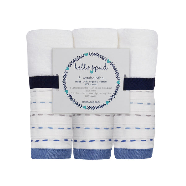 Hello Spud Washcloth 3-Pack Organic Cotton Diagonal Pintuck Blue-Gray