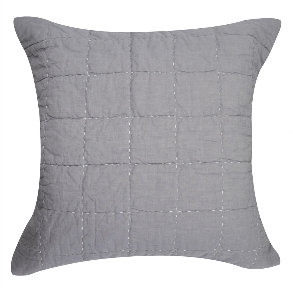 Hello Spud Decorative Pillow with Stuffer Box Quilt Gray