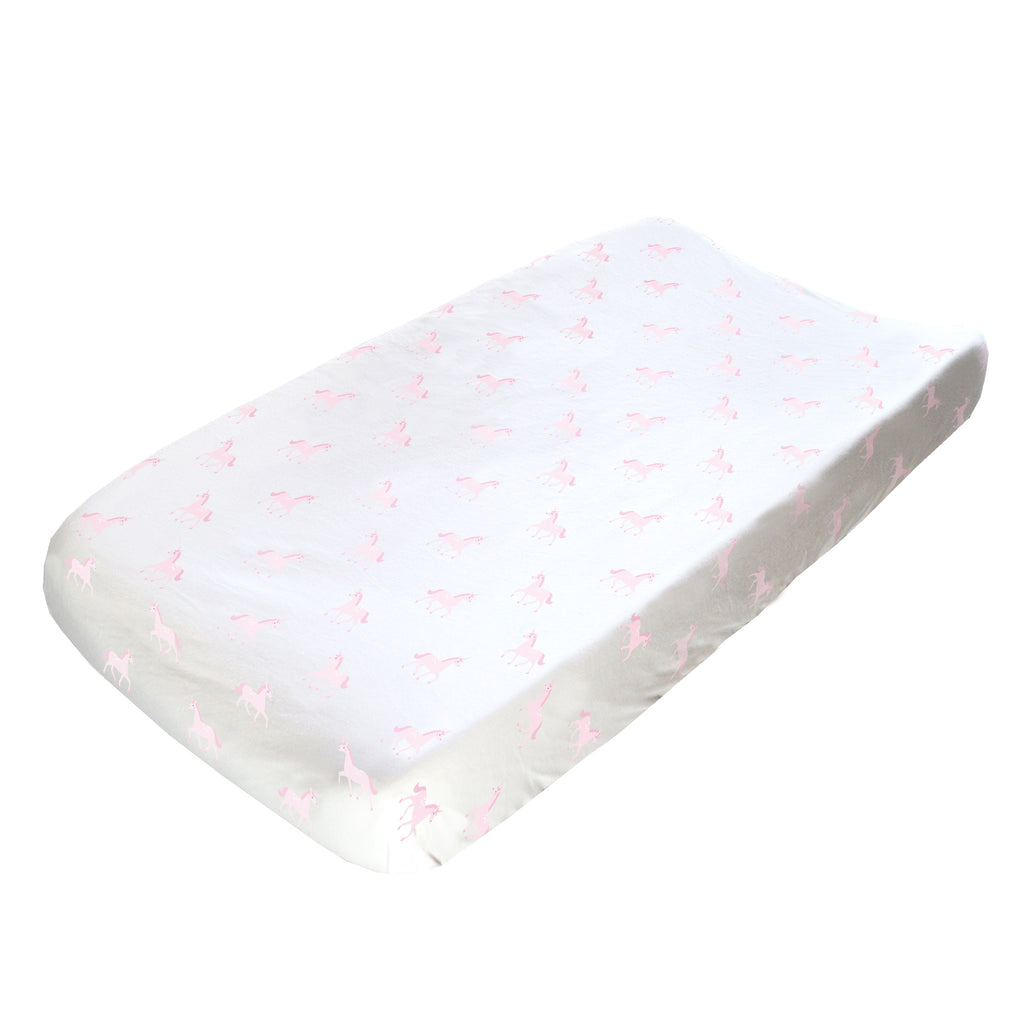 Changing Pad Cover - Pink Unicorns on White Organic Cotton Jersey