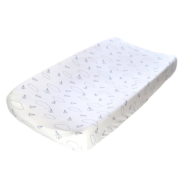 Changing Pad Cover - Paper Airplane on White Organic Cotton Jersey