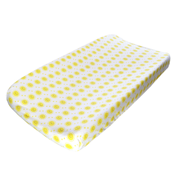 Changing Pad Cover - Yellow Sunshine on White Organic Cotton Jersey
