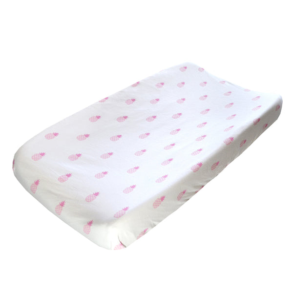 Changing Pad Cover - Pink Pineapple on White Organic Cotton Jersey