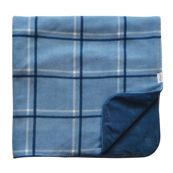 Hello Spud Plaid Blanket Blue