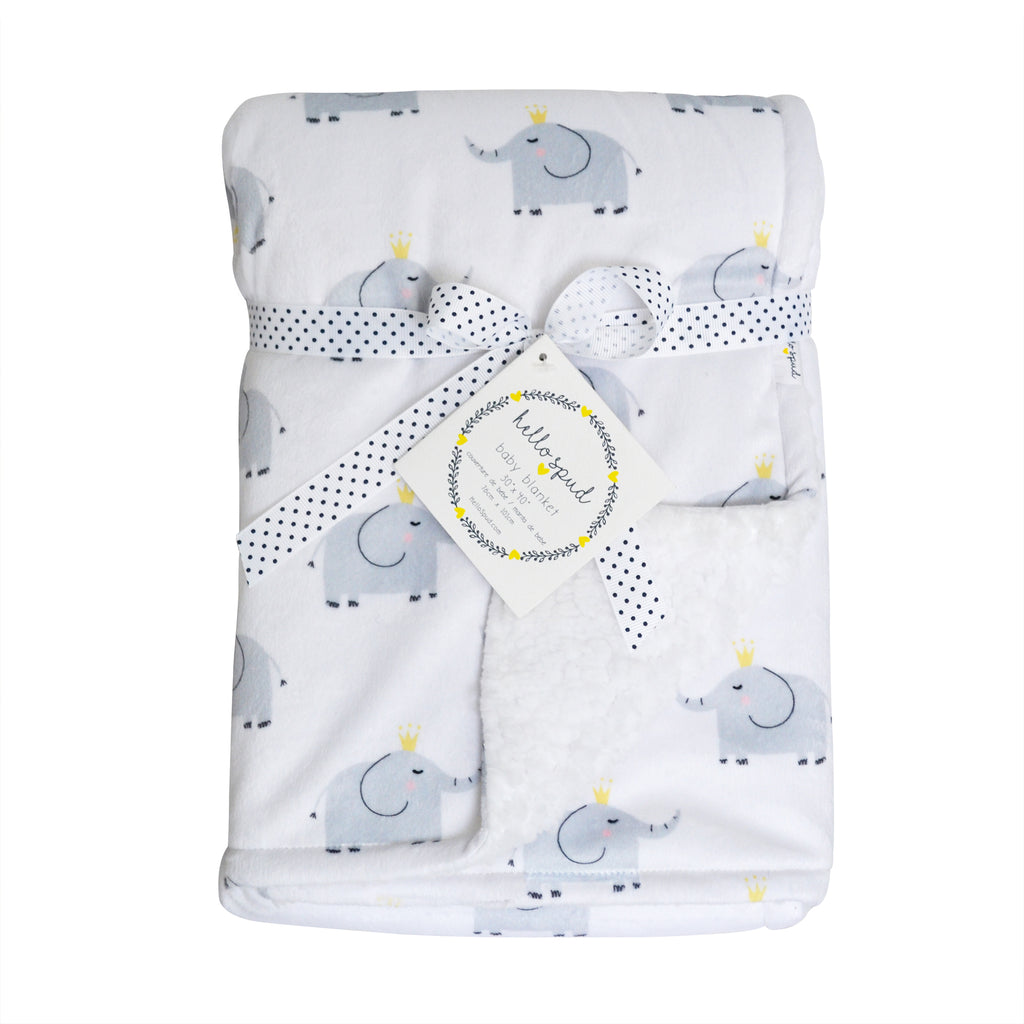 Plush Blanket - Elephants Gray