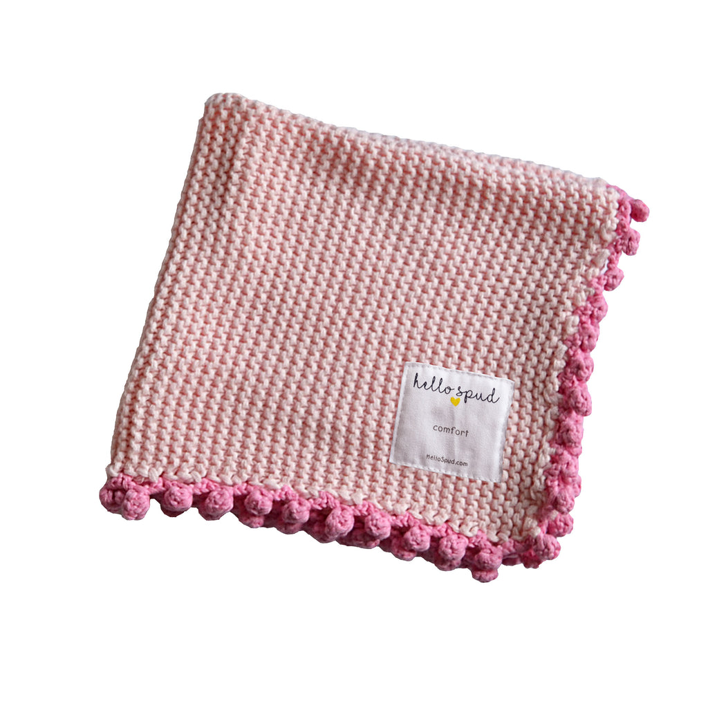Hello Spud Pink Comfort Blanket with Pom-poms Crochet Cotton