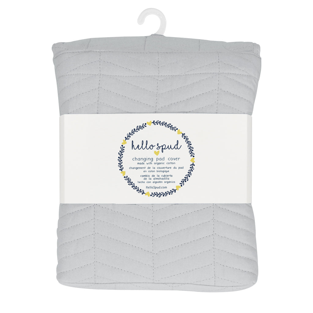 Hello Spud Gray Changing Pad Cover Chevron Quilted Organic Cotton
