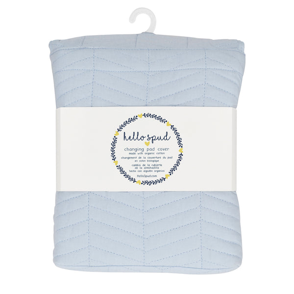 Hello Spud Blue Changing Pad Cover Chevron Quilted Organic Cotton