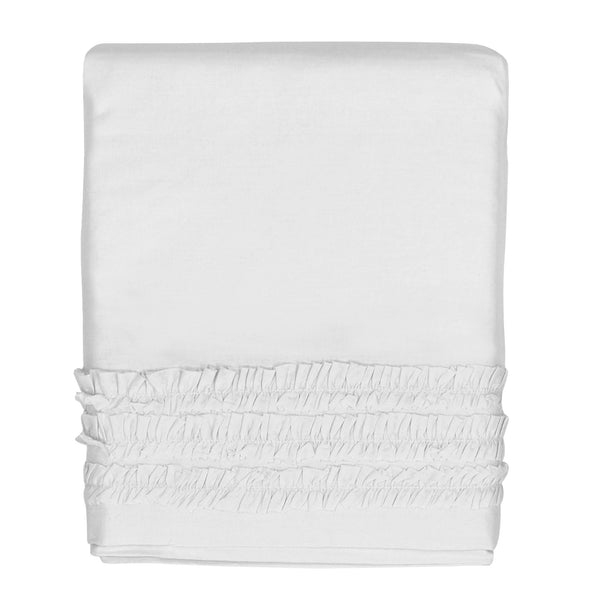 Hello Spud Crib Skirt - White Petite Ruffle Cotton