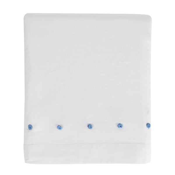 Hello Spud Crib Skirt - Blue French Knot Cotton