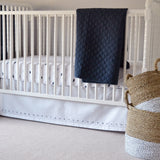 Hello Spud Crib Skirt - Navy Blue French Knot Cotton