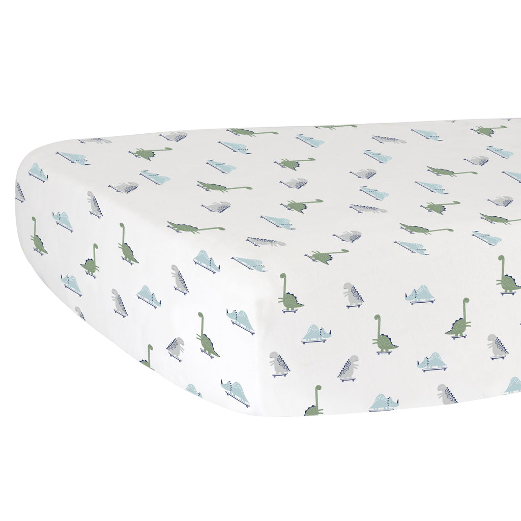 Fitted Crib Sheet - Dinosaurs on White Organic Cotton Jersey