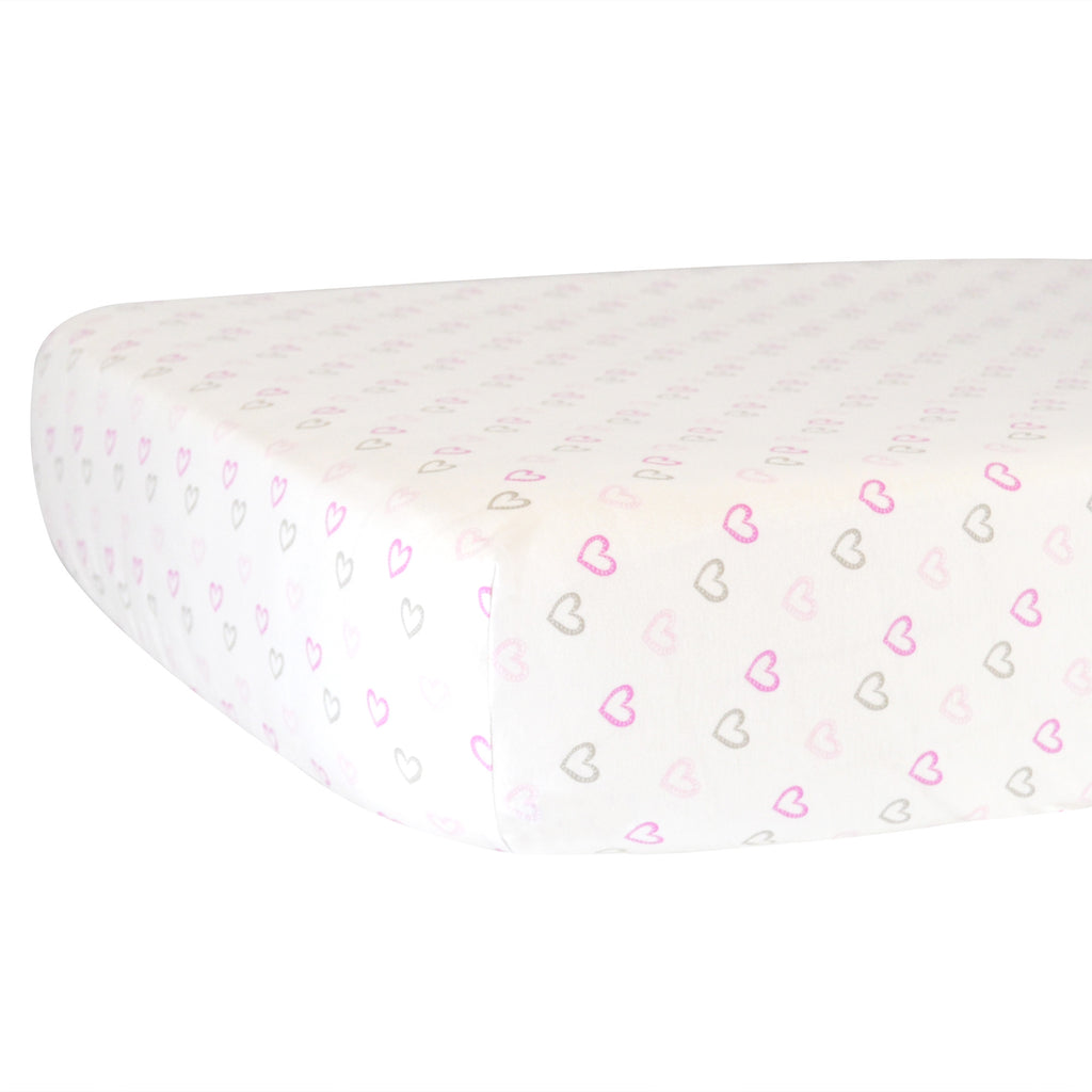 Fitted Crib Sheet - Pink Hearts on White Organic Cotton Jersey
