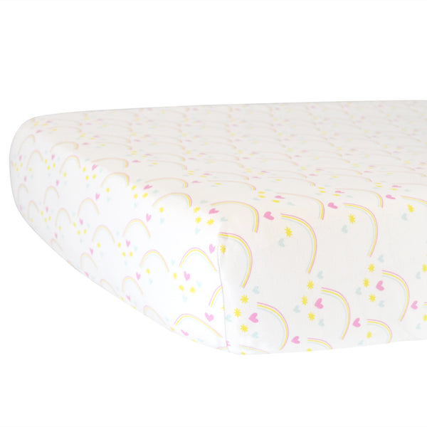 Fitted Crib Sheet - Rainbows on White Organic Cotton Jersey