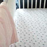 `REDUCED PRICE` Fitted Crib Sheet - Paris Floral on White Organic Cotton Jersey