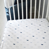 Fitted Crib Sheet - Boy Scottie Dogs on White Organic Cotton Jersey