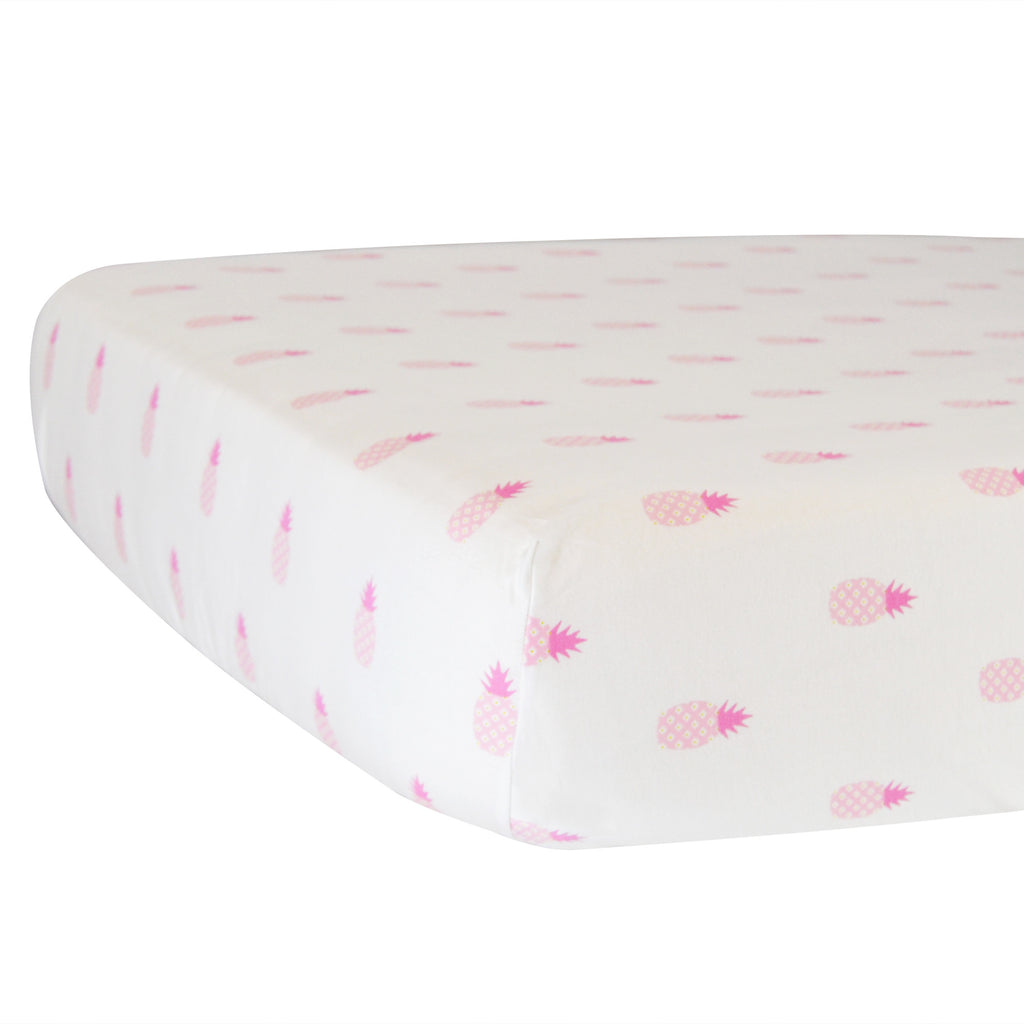 Fitted Crib Sheet - Pink Pineapples on White Organic Cotton Jersey