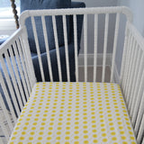 Fitted Crib Sheet - Yellow Sunshine on White Organic Cotton Jersey