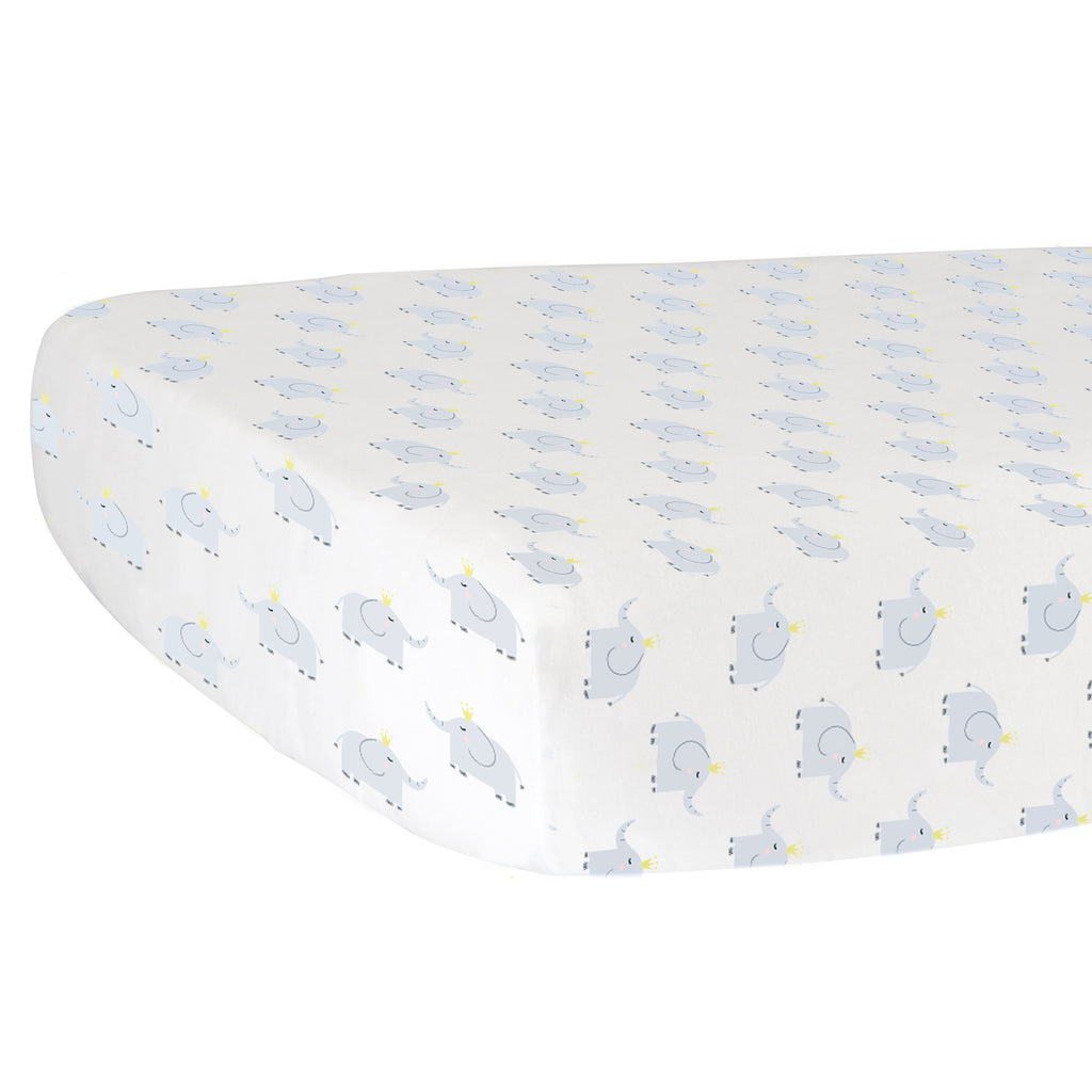 Fitted Crib Sheet - Elephants on White Organic Cotton Jersey