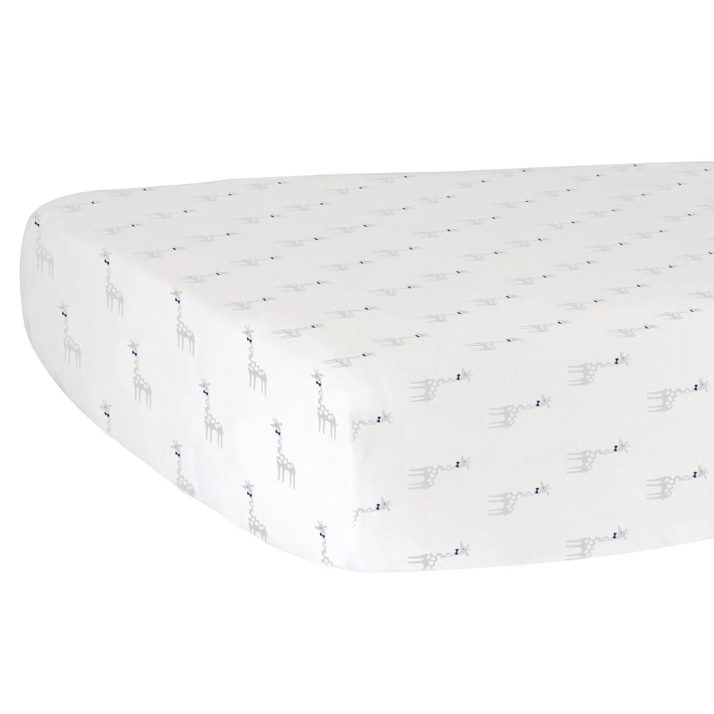 Fitted Crib Sheet - Giraffes on White Organic Cotton Jersey
