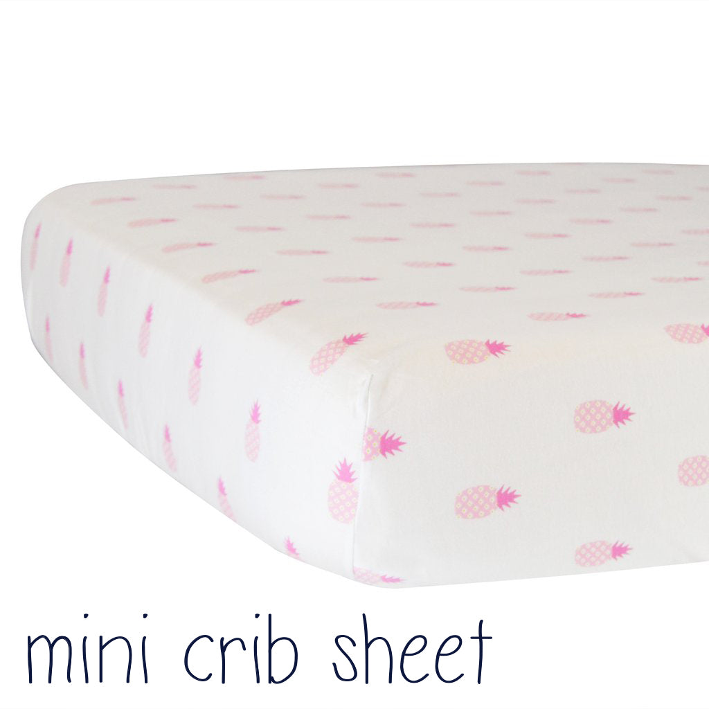 **Mini Fitted Crib Sheet - Pink Pineapples on White Organic Cotton Jersey