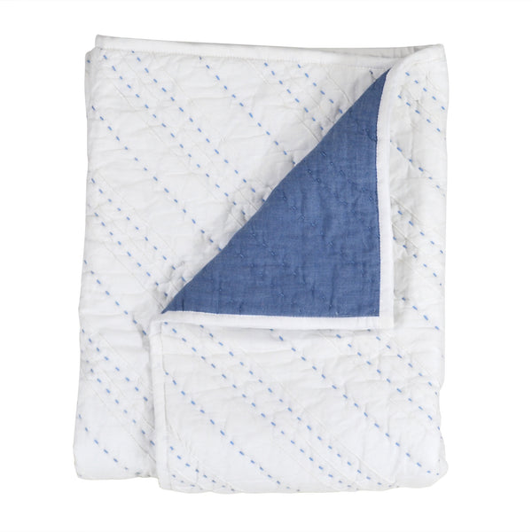 Hello Spud Blue Diagonal Pintuck Quilt