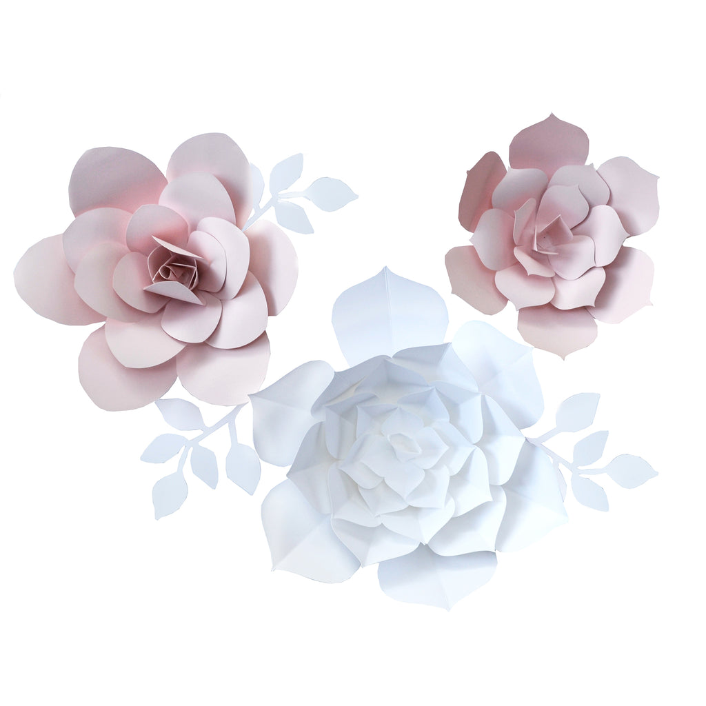 Floral Wall Decor Set - Hand Made Paper Flowers