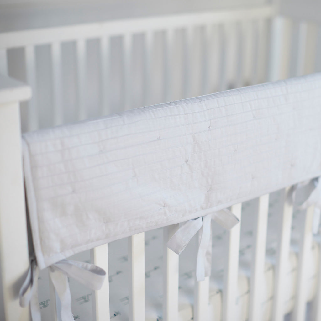 Crib Rail Cover - Pintuck Gray Cotton