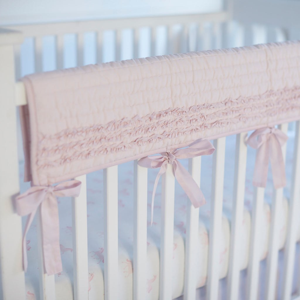 Crib Rail Cover - Petite Ruffle Pink Cotton