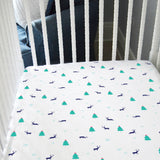 *LIMITED EDITION* Fitted Crib Sheet - Boy Reindeer on White Organic Cotton Jersey