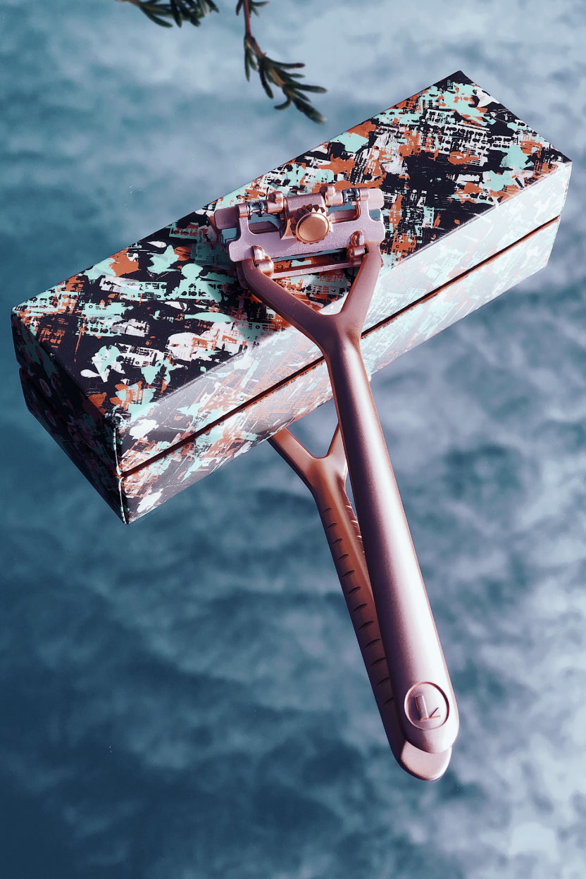 Leaf Shave reusable rose gold metal razor sustainable living products The Fashion Advocate
