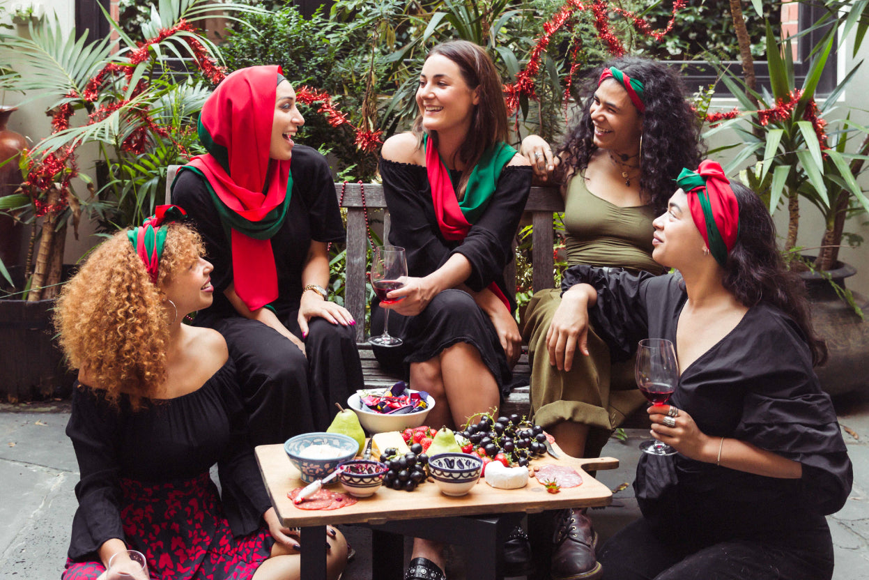 The Fashion Advocate ethical fashion online MOGA Christmas scarf Made in Melbourne fashion