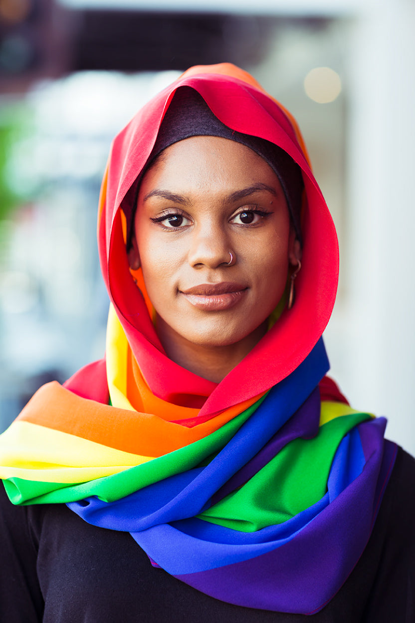 The Fashion Advocate supports marriage equality MOGA made in Australia Pride scarf