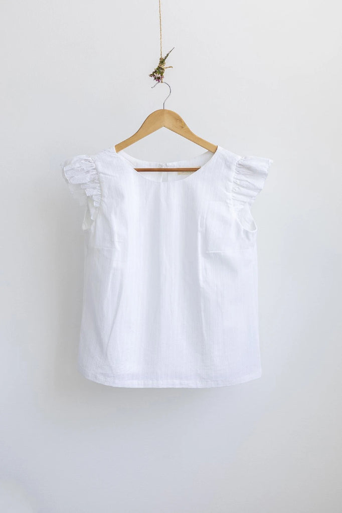 Petunia Frill Top White Shirts + tops Ethical Sustainable Vegan Organic Australian fashion womens clothes