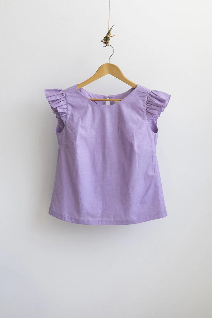 Petunia Frill Top Purple Shirts + tops Ethical Sustainable Vegan Organic Australian fashion womens clothes