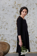 Black Pansy Dress Dresses The Fashion Advocate ethical Australian fashion designer boutique Melbourne sustainable clothes