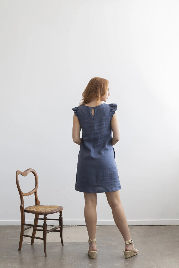 Petunia Frill Dress Denim Blue Dresses Ethical Sustainable Vegan Organic Australian fashion womens clothes