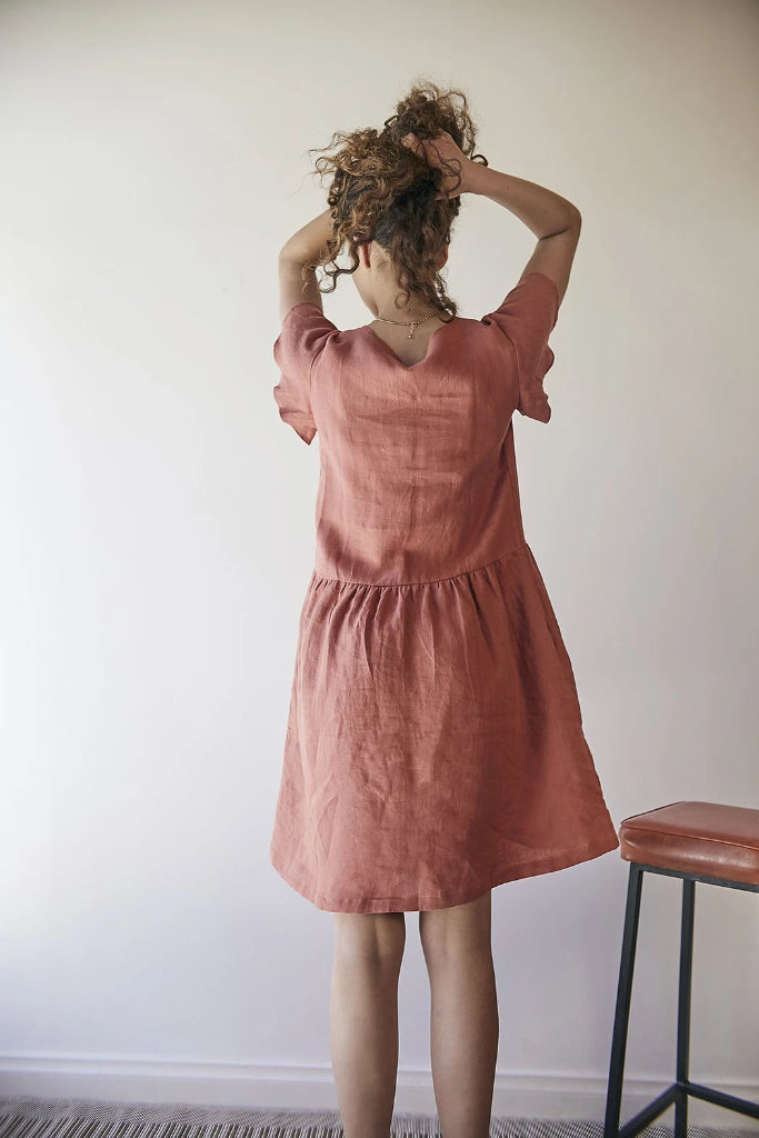 Gypsophila Dress with Sleeves Red Clay