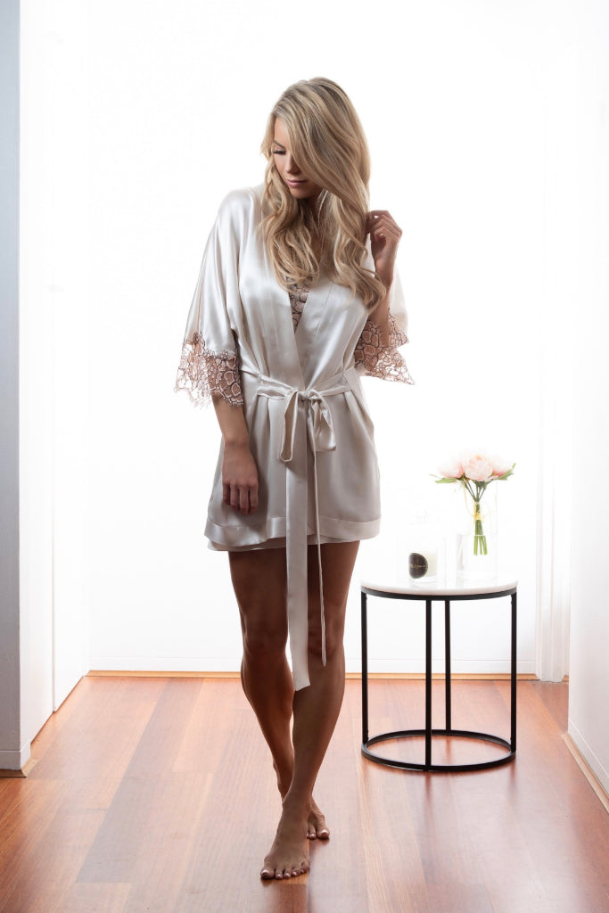 Dawn Aphelion Satin Kimono Sleepwear Ethical Sustainable Vegan Organic Australian fashion womens clothes