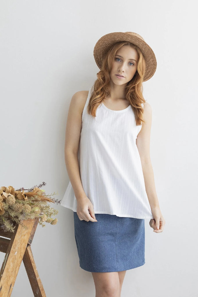 Hydrangea Singlet Top White Shirts + tops Ethical Sustainable Vegan Organic Australian fashion womens clothes