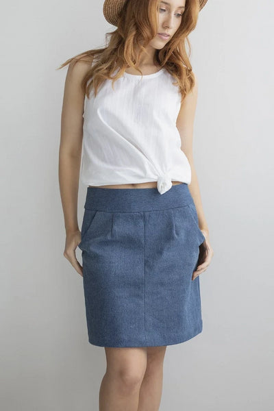 Up-cycled Denim Skirt Skirts The Fashion Advocate ethical Australian fashion designer boutique Melbourne sustainable clothes
