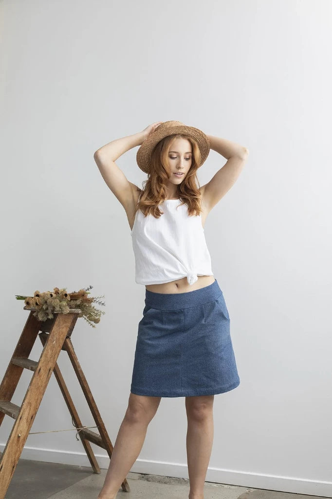 Up-cycled Denim Skirt Skirts Ethical Sustainable Vegan Organic Australian fashion womens clothes